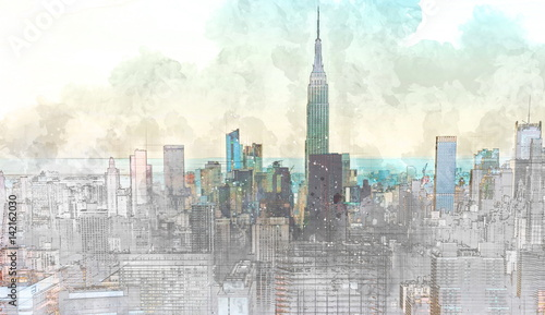 Sketch of the Manhattan skyline cityscape - 142162030