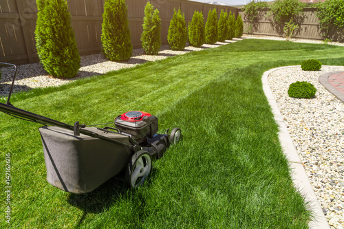 Fototapeta Lawn mower in the garden on green grass