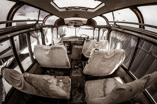Staande foto Imagination Haunted bus, murder scene, apocalyptic vision with blood covered sheets on seats and bench seats, nightmare background