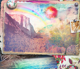 Collage and postcard of dreams landscape with rainbow and sea