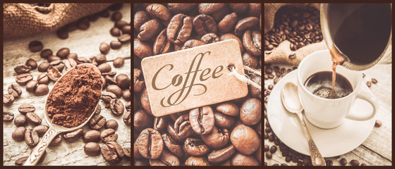 collage of coffee. a lot of pictures. selective focus.   © yanadjan