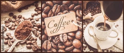Papiers peints Café en grains collage of coffee. a lot of pictures. selective focus.