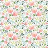 Fototapety  Seamless spring pattern with abstract flowers and leaves on a white background,  pink flowers, small branches with leaves.