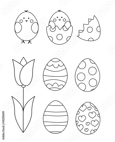 Easter eggs, chicks, tulip- coloring page