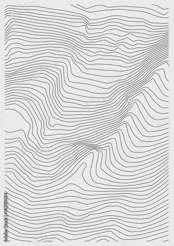 Staande foto Abstract wave Vector abstract earth relief map. Generated conceptual elevation map.