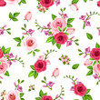 Vector seamless pattern with red and pink roses and freesia flowers on a white background.