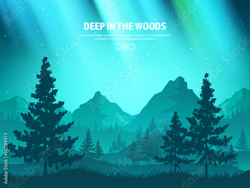 In de dag Turkoois Mountains and forest. Wild nature landscape. Travel and adventure.Panorama. Into the woods. Horizon line.Trees,fogfog.