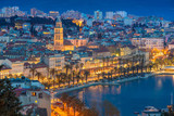 Split. Beautiful romantic old town of Split during twilight blue hour. Croatia,Europe. - 142204818