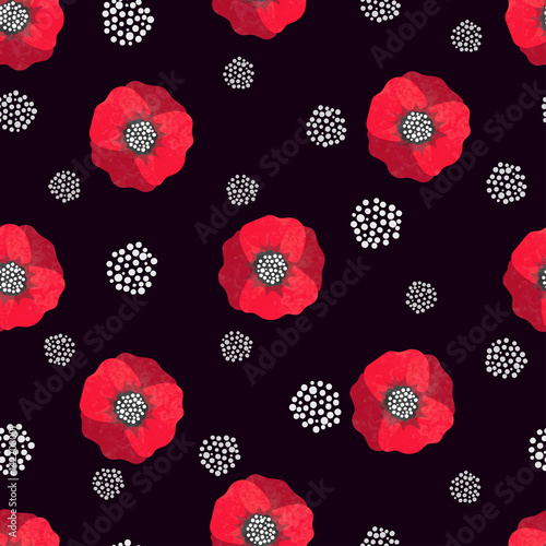 Seamless abstract watercolor poppies pattern. Vector black and red floral background. - 142208001