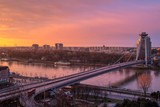 Bratislava, Slovakia - March 19, 2017: New Futuristic Bridge in Bratislava at sunset (City view at sunset)