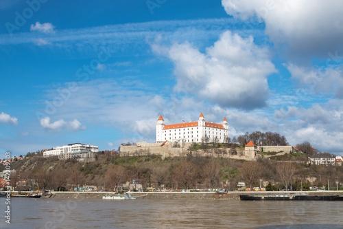 Poster Bratislava, Slovakia - March 19, 2017: Bratislava castle in capital city of Slovak republic
