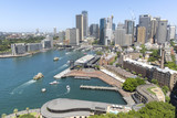 Sydney cityscape and Circular Quay, elevated aerial view from Sydney Harbour Bridge