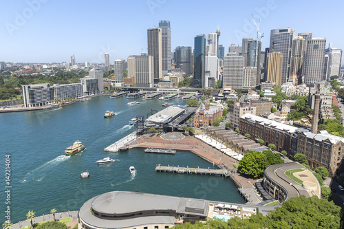 Sydney cityscape and Circular Quay, elevated aerial view from Sydney Harbour Bri