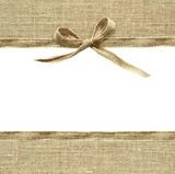 Beige canvas ribbon bow and textile borders - 142217479