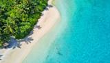 Aerial photo of tropical Maldives beach on island - Fine Art prints