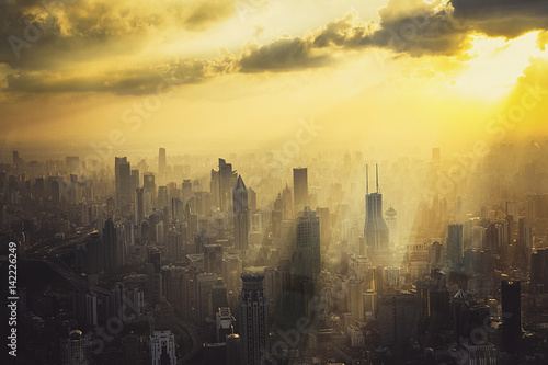 Shanghai City in the sunset Poster