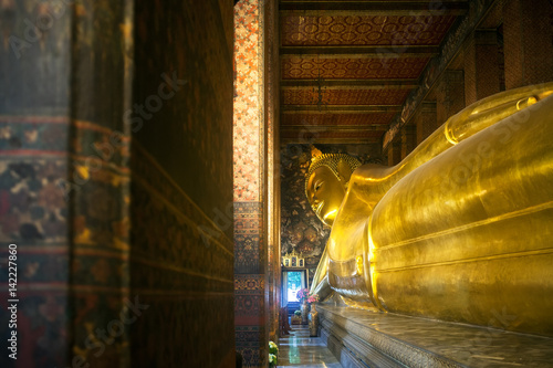 Poster Big reclining buddha at Wat Pho temple in Bangkok