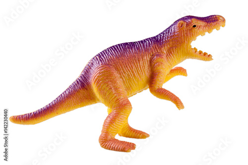 Poster plastic dinosaur toy isolated on white background