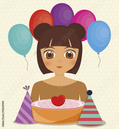 Happy Birthday Card With Anime Girl And Cake Colorful Design