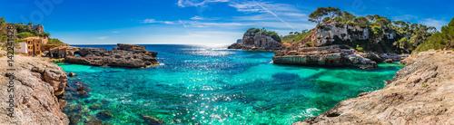 Leinwanddruck Bild Island scenery, seascape Spain Majorca, beach bay Cala s'Almunia, beautiful coastline Mediterranean Sea