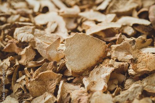 Dried Herbal, Galangal herb sliced.