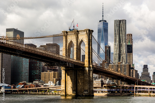 Plexiglas Brooklyn Bridge Brooklyn bridge and Manhattan Skyline