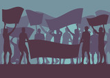 Protest people crowd and broken car silhouette vector background landscape demonstrate - 142251862
