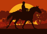 Horse rider and forest trees landscape with sunset vector background