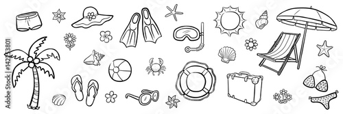 gamesageddon - farbiges illustrations-set: sommer-urlaub