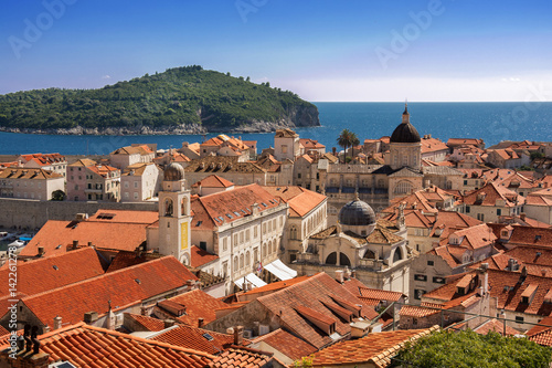 Old Town Dubrovnik and Lokrum Island view from Dubrovnik City Walls Poster