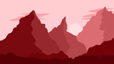 Mountain Landscape Illustration with Color Overlay