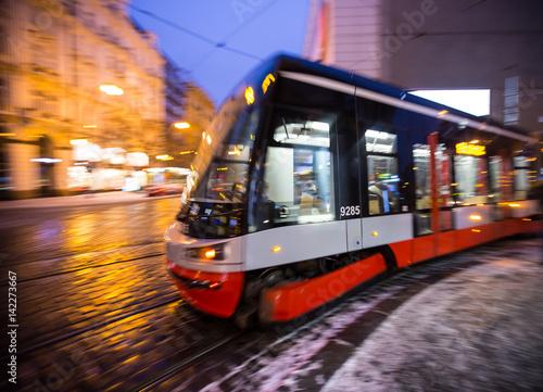 Modern tram in motion blur.