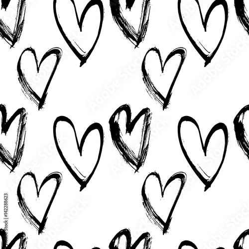 Abstract seamless heart pattern. Ink illustration. Black and white vector background. - 142288623