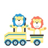 Cartoon lion on a train animal characters kids collection vector illustartion