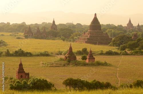 Poster sunset at bagan, myanmar