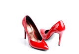Pair Of Red Classic Women's High-Heeled Shoes Isolated On A White Background - 142314632