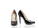 Pair Of Black Classic Women's High-Heeled Shoes Isolated On A White Background - 142314677