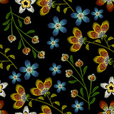 Cornflowers embroidery seamless pattern. Beautiful spring flowers on black background - 142314860