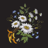 Camomiles embroidery. Beautiful bouquet of chamomiles, classic embroidery pattern for clothes - 142314873