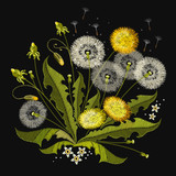 Dandelions embroidery. Beautiful dandelions classical embroidery - 142314882