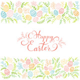 Fototapeta Colorful floral elements and lettering Happy Easter