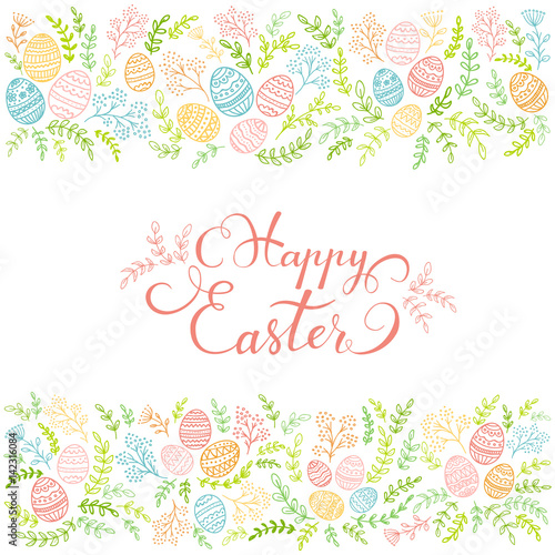 Colorful floral elements and lettering Happy Easter