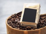 Fototapety Coffee beans Package Blank label Mock up Retail shop display