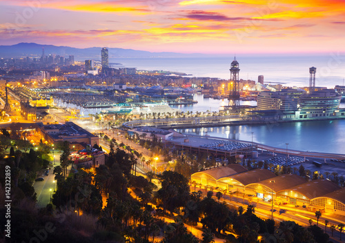 Poster Port Vell at Barcelona in dawn