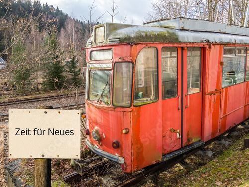 Poster Alte Tram Zeit für Neues