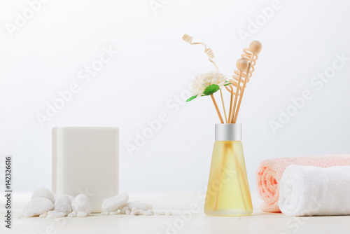 SPA Decoration. Spa composition with aromatherapy white.