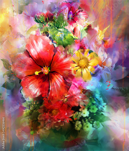 Fototapety, obrazy : Abstract colorful flowers watercolor painting. Spring multicolored in .nature.