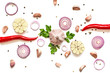 Composition of garlic, red onion, chili, pepper and herbs
