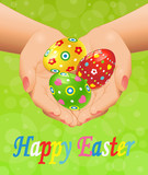 Easter background with hands and Easter eggs. Vector illustration.