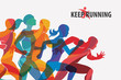 running people set of silhouettes, sport and activity  background